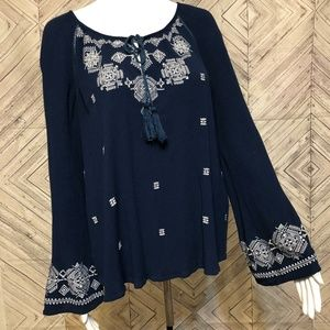 Miss Me L boho indian embroidered  blouse tunic